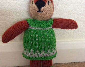 Hand Knitted Girl Fox