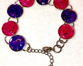"6.5-8.5"" Eggshell Mosaic Silver circle bracelet (#505)"