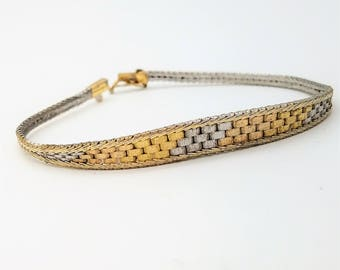 """Vintage Italian Made Sterling Silver Bracelet with Rose and Yellow Gold Overlay - 7.25"""""""