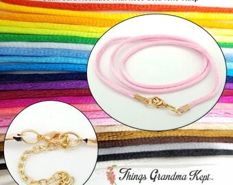 Satin Cord Necklace With Rose Gold Tone Clasp, 25 Colors! Your Choice of Lengths
