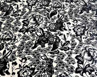 Black and White (cream) Japanese Print Rabbit Usagi Fabric, Black and White, Whimsical Animal Print, Alexander Henry, by the yard, half yard