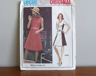 70s Pattern - Molyneux - Misses' A-Line Dress - Vogue Paris Original Printed 2858 - Vintage 1970s Sewing Pattern - Size 10 - 32-25-34