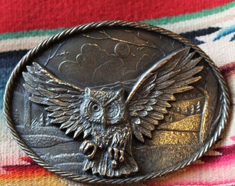 Vintage Brass Owl Belt Buckle Great American Chicago Buckle Co 1980