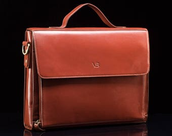 Women's Leather Briefcase / Women's leather laptop bag