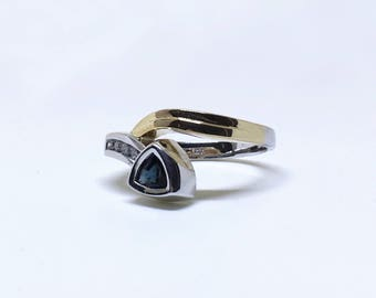 10k Yellow-White Gold Lady Swirl Style Sapphire and Diamond Ring, Appraised 1,850 CAD
