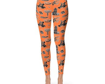 Halloween Leggings, Spooky Orange and Black Yoga Pants, Haunted House, Witches, Owls, Creepy Trees, Bats, Black Cats, Graveyard