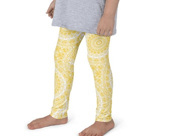 Leggings Girls Mustard Yellow Yoga Pants for Kids, Yellow and White Children's Activewear