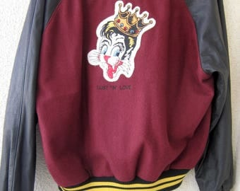 Stray Cats Vintage   Jacket burgundy wool body black leather sleeves  . STRAY CATS embroidered.