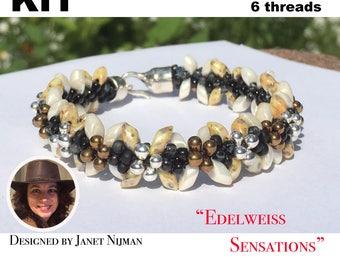 Kumihimo kit incl pattern tutorial 6 threads  Edelweiss Sensations bracelet Kumihimo Style