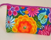 BRIGHT MEXICANY FLOWERS 100% cotton fabric Cosmetic Bag, gift bag with full width opening and nylon zipper closure