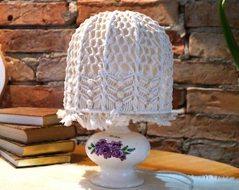 Vintage lampshade White croochet lampshade Romantic lampshade Romantic light Hand made lampshade White Crochet cotton lamshade with fringes