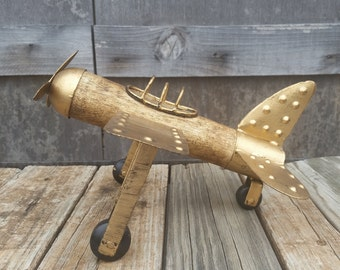 airplane made of brass and wood/decorative airplane/wood airplane/brass airplane/bi-plane