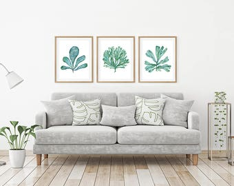 Art Print Set Of 3 Coral Sea Fan Botanical Watercolours, Aqua Blue Green  Coastal Decor