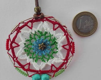 Mandala crochet pendant with cotton yarn, craftsman, original, with two turquoise and crystal beads, cheerful, colorful and vegan.