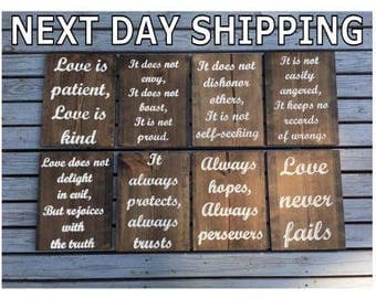 FAST SHIPPING - Engraved Love is Patient Love is Kind Wedding Aisle Signs - 1 Corinthians 13 Sign - set of 8 - Love Never Fails - ceremony