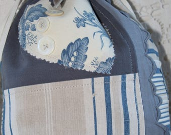 French antique linen and ticking bag.