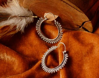 Dotted silver wash hoops. Brass earrings. Hippie, boho, gipsy, tribal, festival, psytrance.