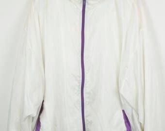 Vintage jacket, 90s windbreaker, 90s clothing, white, purple zipper