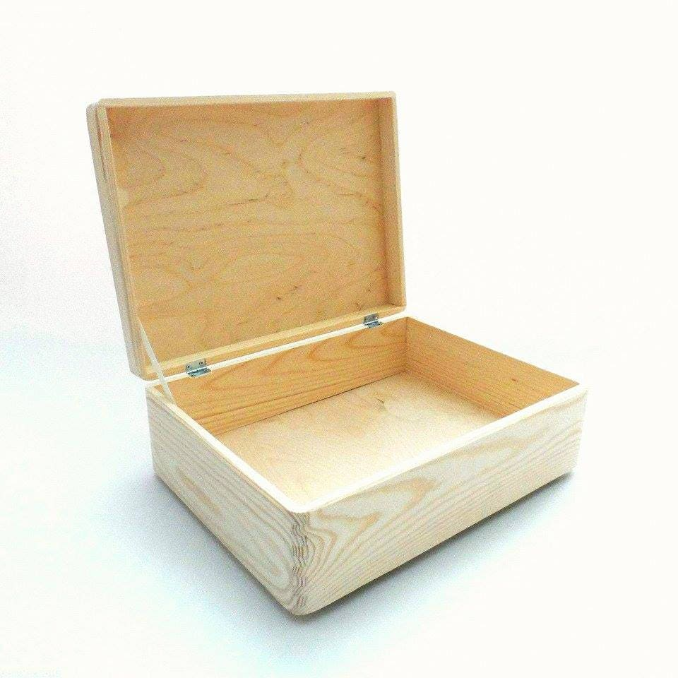 Wooden box storage box crate with lid plain chest trunk memory for Re storage crate