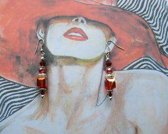 """""""Spirit COUTURE"""" red crystal earrings"""