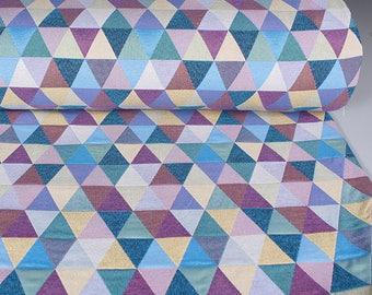 0,5 mètre de brocart tissé en Espagne, motif à triangles multicolores (Pyramide)