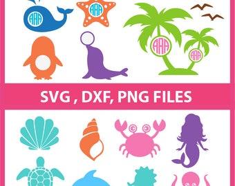Mermaid SVG,  Octopus Svg, starfish svg, sea shells svg, crab svg, sea turtle Svg, dolphin svg, sea horse svg,  DXF, PNG Formats 0144