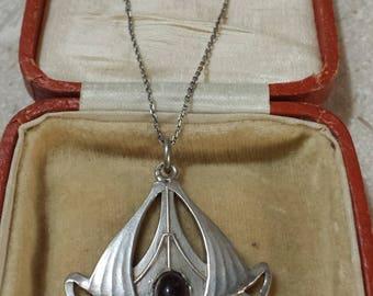 c1910 Pforzheim JUGENDSTIL sterling silver and garnet necklace -Odenwald? Wonderful!