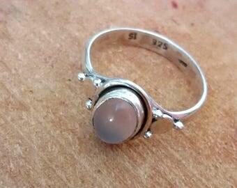 925 sterling silver ring, 925 rose quartz ring, boho ring, bohemian ring, silver ring with pink quartz, silver stone ring.