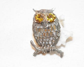 Sterling Silver Citrine Owl Pendant, 925 Natural Citrine Owl Pendant, Unique Vintage Owl Pendant, Bird Pendant, Owl With Gemstone Eyes, 925