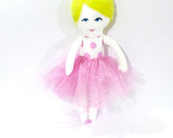 READY TO SHIP, Ballerina Doll, Rag Doll, baby girl toy, personalised toy, cloth doll, white stork creations