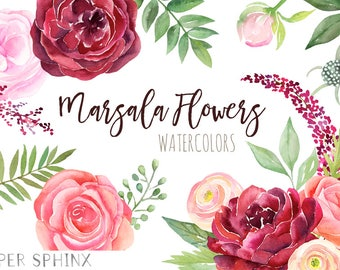 Watercolor Burgundy Flowers Clipart | Fall Wedding Flowers - Marsala and Pink Florals - Wedding Invitation Roses - Instant Download PNGs