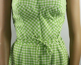 Womens Vintage Retro Summer Beach 1950s Jantzen Lime Green White Gingham Check One Piece Bathing Suit SZ M