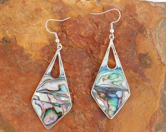 Mexico Alpaca Silver Vintage Dangle Earrings Purple Green Abalone Shell Inlays X29