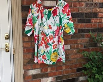 Handmade peasant top in bright cotton print
