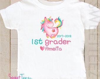 1st Grade Shirt Unicorn Shirt Toddler Youth Personalized Shirt Girl Back to School Shirt
