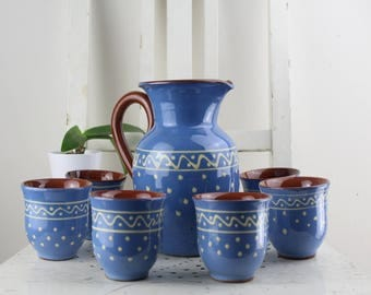Ceramic cups and juice jug Set blue with white pattern Juice cups Breakfast set Handwork Handbemalen Made in Germany