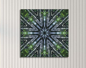 Awakening mandala print on canvas ~ Feng Shui wall decor for Health, Abundance and Well-being ~ Bamboo Nature Photography ~ Visionary Art