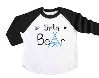 Brother Bear Shirt - Pregnancy Announcement Shirt - Big Brother Announcement Shirt - Tribal Brother Bear - Sibling Shirt - Sibling Outfit