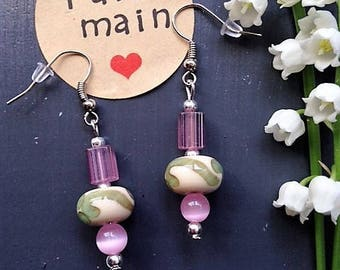 Glass Lampwork earrings / / pink and celadon Green