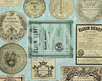 31 Vintage Apothecary Labels -  2 A4 - Digital collage sheet - Instant Download