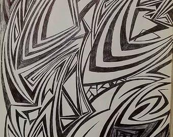 Original Abstract Drawing, Original Modern Art, Abstract Art, Drawing
