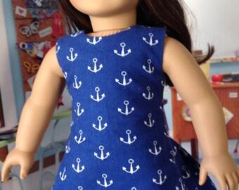 Day at the beach dress, summer dress, nautical print dress. Blue and white dress, sleevelss nautical dress