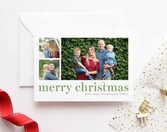 Minimalist Typography Christmas Card - Multi Photo Christmas Cards - Modern Photo Cards - Custom Photo Holiday Cards - Holiday Photo Card