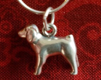 CP099 Vintage Sterling Silver Necklace with Sterling Silver Dog Pendant