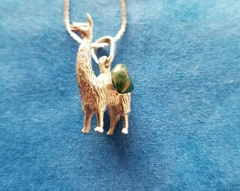 CP128 Vintage Sterling Silver Necklace with Sterling Silver LLama Pendant with Two Turquoise Stones