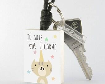 """Porte-Clé Chat """"Je suis une licorne"""""""