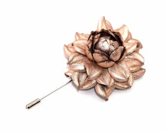 Metallic Pink Rose Wedding Boutonniere, Real Metallic Rose Gold Leather Rose Lapel Brooch, Flower Buttonhole, Lapel Accessory, Grooms Pin