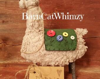 Primitive Alpaca / Handmade Alpaca / Rustic Alpaca Llama Shelf Sitter / Farm Animal / Folk Art Alpaca / Primitive Country Farmhouse Decor