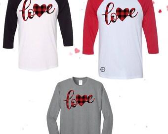 Buffalo Plaid Valentine Shirt, Love Buffalo Plaid, Buffalo Plaid Valentine, Buffalo Plaid Raglan Shirt, Love Raglan, Love Valentine Shirt