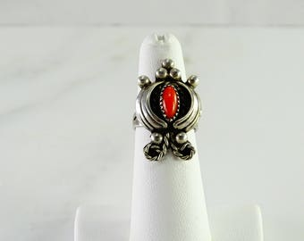 Sterling Coral Ring Size 5.5